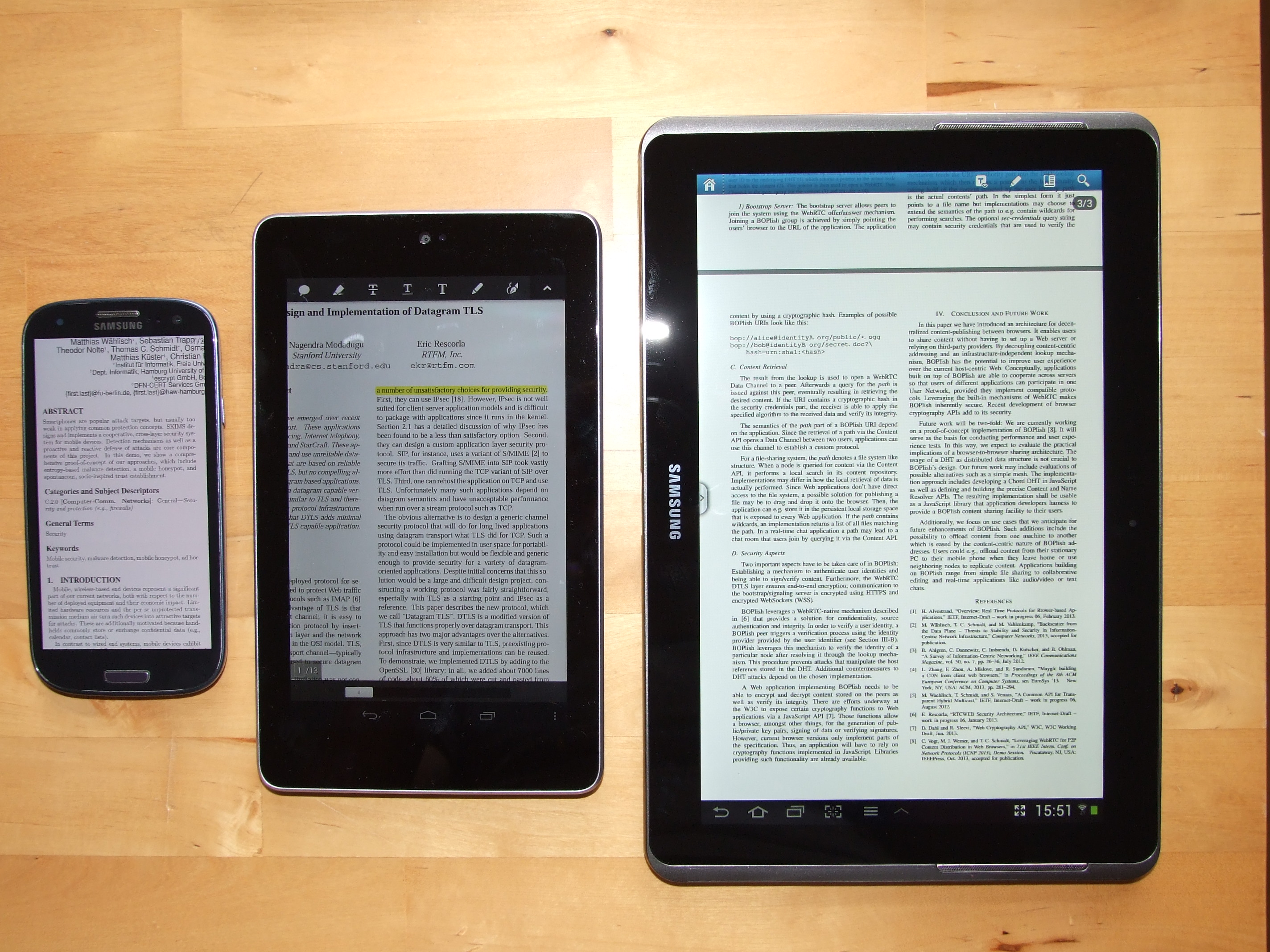 Photo of a smartphone, a 7'' and a 10'' tablet